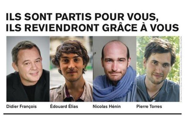 Les journalistes Didier François, Édouard Élias, Pierre Torres et Nicolas Hénin sont retenus en otages en Syrie.