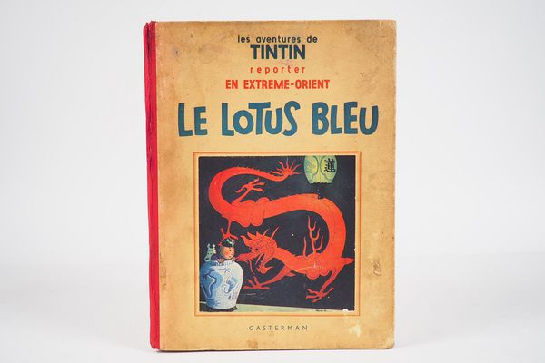 The Blue Lotus, original 1936 edition, estimated between 3,000 and 4,000 euros.