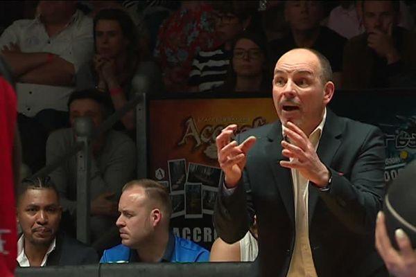 Hervé Coudray, l'entraîneur du CBC, ce vendredi soir lors du match contre Aix Maurienne