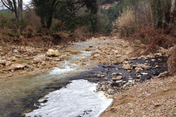 C'est vendredi 17 janvier qu'un citoyen a alerté d'un dépôt noir recouvrant le fond de la rivière varoise.