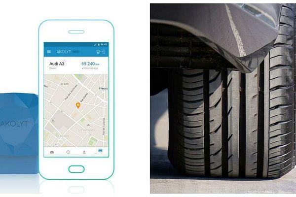 Le boîtier Akolyt s'insère sur la prise diagnostic de votre voiture et communique toutes les informations sur votre voiture (freins, moteur, boite de vitesse…) à votre smartphone.