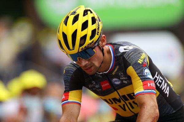 Primoz Roglic à l'arrivée de la 7e étape du Tour de France au Creusot le 2 juillet 2021.