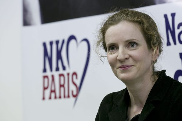 Nathalie Kosciusko-Morizet, candidate à la Primaire ouverte de l'UMP pour les élections municiplaes de 2014 à Paris, lors d'un point presse à son QG de campagne.