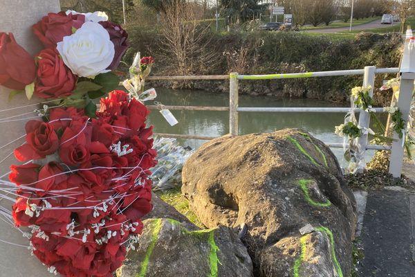 Des roses rouges là où la voiture a plongé dans le canal de la Seine à Troyes.