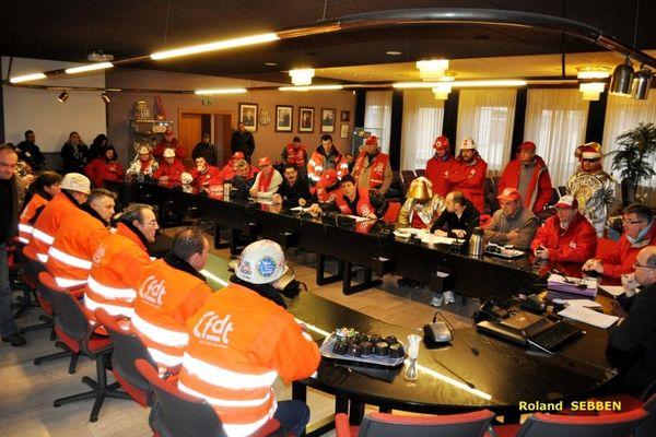 20/12/2012 - Rencontre de l'intersyndicale CGT-CFDT-FO avec le député-maire PS de Fameck Michel Liebgott.