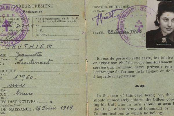 Jeannette Guyot, née en Saône-et-Loire, prit le nom de Jeannette Gauthier quand elle travailla pour la Résistance - Base de données du réseau de résistance de la Confrérie Notre-Dame (CND-Castille)