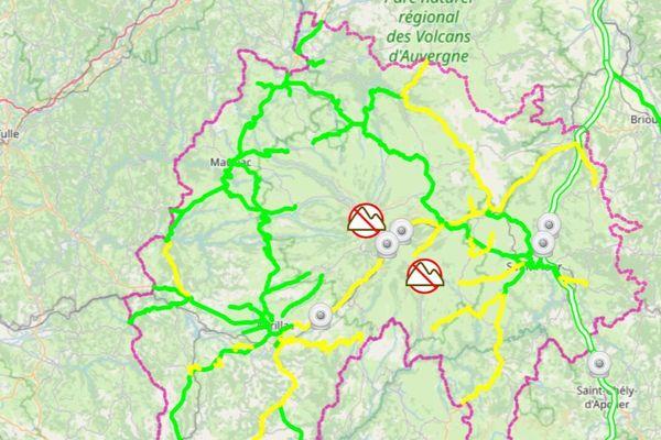 En rouge : circulation difficile En jaune : circulation délicate En vert : pas de difficulté signalée