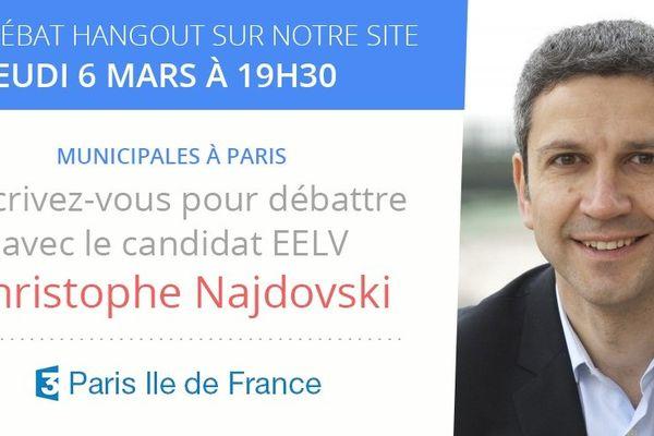 Ce jeudi 6 mars, France 3 Paris accueille Christophe Najdovski, candidat Europe Ecologie les Verts (EELV) à la mairie de Paris, pour participer à un débat interactif 100% web avec les Parisiens