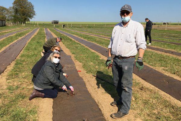 Des habitants en pleine plantation de leurs pieds de vigne.