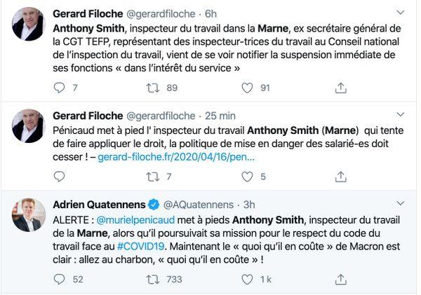 Gérard Filoche, retraité après 30 ans comme inspecteur du travail. Membre de la CGT ou encore le député France Insoumise Adrien Quatennens ont déja pris position pour Anthony Smith.