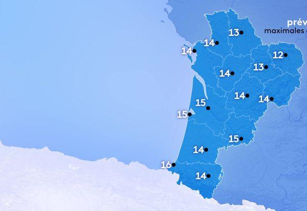 Les températures maximales sont au-dessus des normales de saison, comprises entre 12 degrés à Guéret et 16 degrés le maximum à Biarritz.