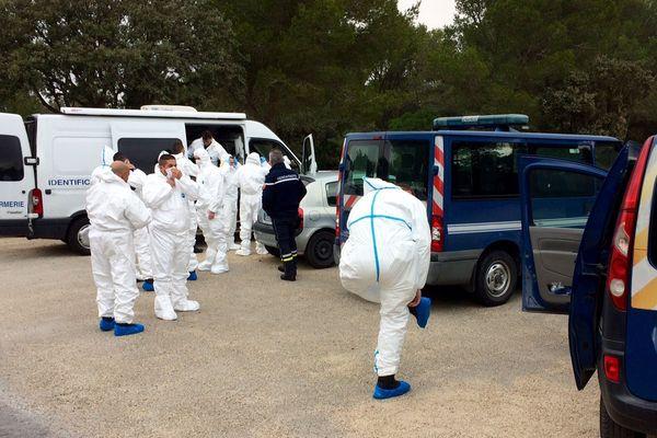 Fleury-d'Aude - les gendarmes vont ratisser la zone où le cadavre a été découvert - 22 novembre 2017.