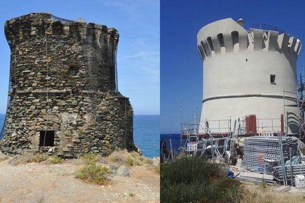 À Ogliastro, l'utilisation d'un enduit à la chaux pour la rénovation de la tour d'Albu fait polémique.
