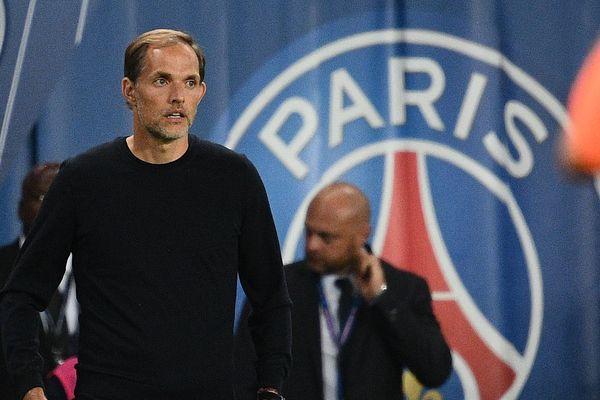 L'entraîneur du PSG Thomas Tuchel lors du match contre Saint-Etienne (ASSE) au Parc des Princes le 14 septembre 2018.