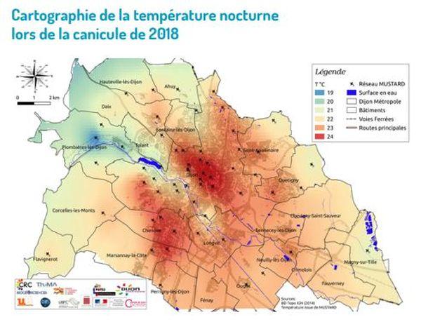 Cartographie de la température nocturne lors de la canicule de 2018