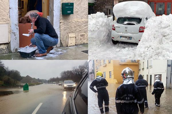 De Limoux dans l'Aude à Perpignan dans les Pyrénées-Orientales en passant par la Cerdagne, les pluies et la neige amenés par la tempête Gloria frappent la population qui se prépare à de probables inondations dans les heures qui viennent. Mercredi 22 janvier 2020.