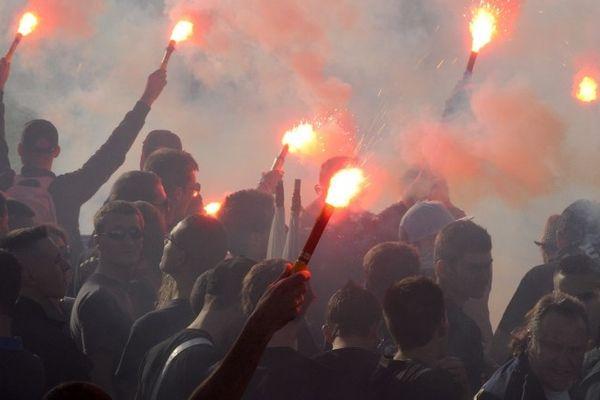 "Montpellier : manifestation des ""ultras"" supporteurs de football - 13 octobre 2012."
