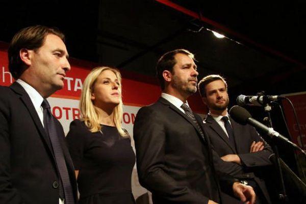 Aux côtés de Christophe Castaner, à droite Christophe Pierrel et à gauche Ladislas Poleski et Céciel Muschotti pendant la campagne des régionales.