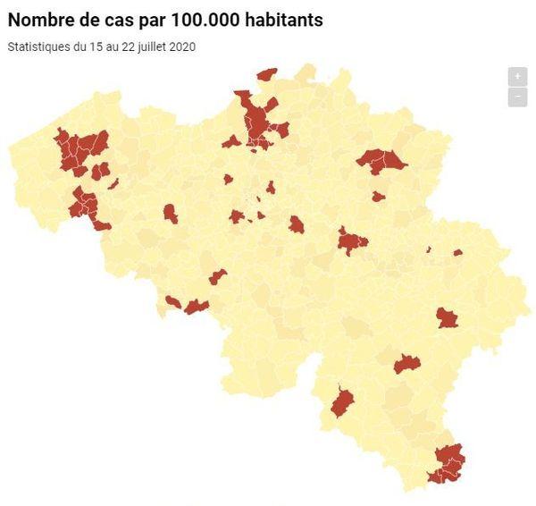 En rouge, les communes qui ont dépassé le seuil d'alerte, c'est-à-dire, qu'elles ont connu au moins 20 nouvelles contaminations pour 100 000 habitants sur la semaine.
