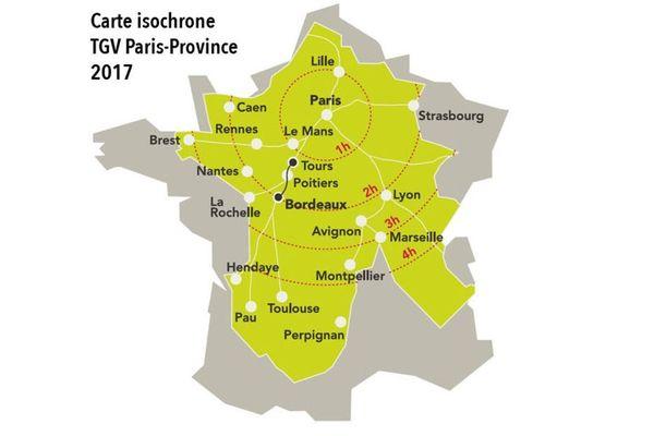 Carte de France des temps de parcours en TGV depuis Paris