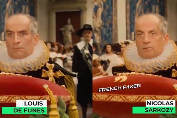 """Grâce à la technique du """"deep fake"""", le visage de Nicolas Sarkozy a été apposé sur celui de Louis de Funés."""