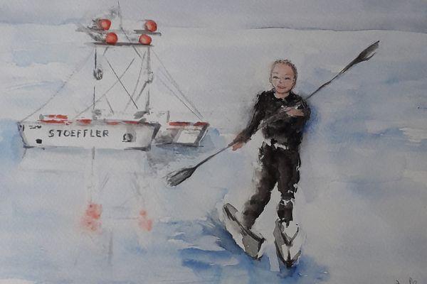 """Rémy traversant l'Atlantique - illustration du livre """"Rémy cherche Coco"""""""