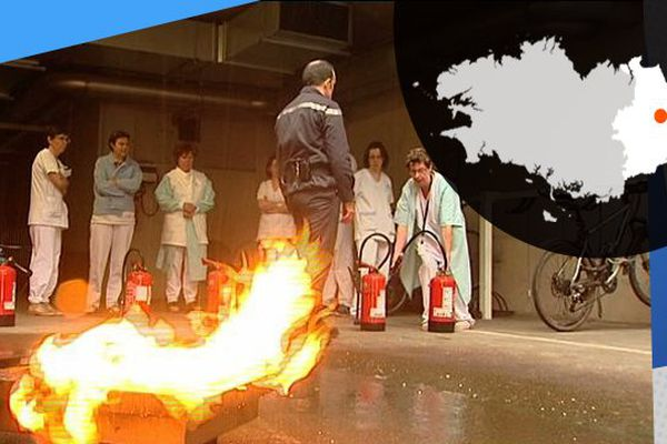 Le personnel de l'hôpital sud de Rennes en formation sécurité incendie