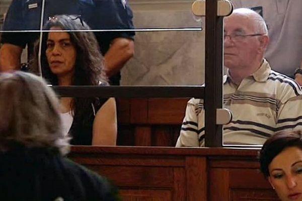 Fatima Ennajah et Claude Ducos dans le box des accusés lors du procès Junca à la cour d'Assises de Pau