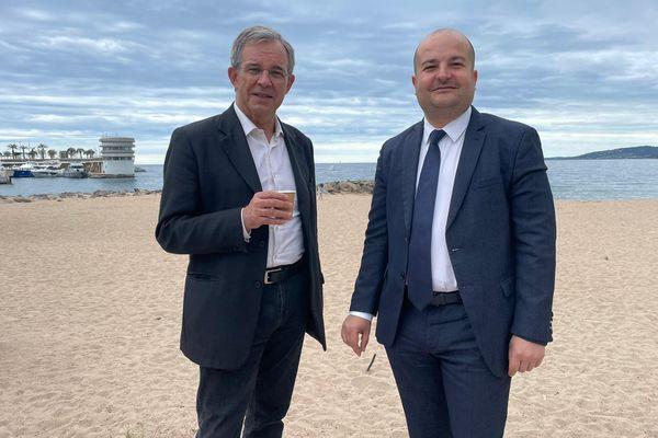 Thierry Mariani et David Rachline, candidats pour le Rassemblement National en campagne dans les Alpes-Maritimes ce 16 mai.