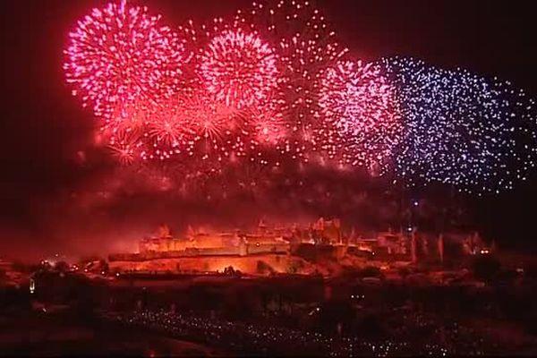 Le feu d'artifice Carcassonne  le 14 juillet 2015