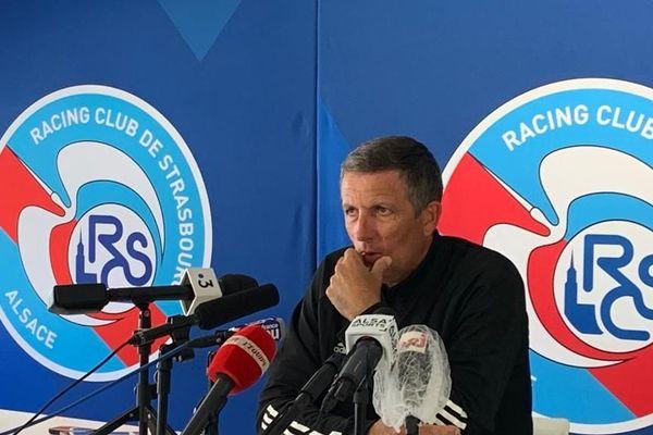 Thierry Laurey, l'entraîneur du Racing club de Strasbourg, lors d'un point presse le 29 juin 2020.
