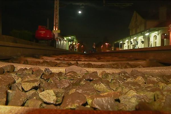 Vue de nuit de la gare de La Souterraine