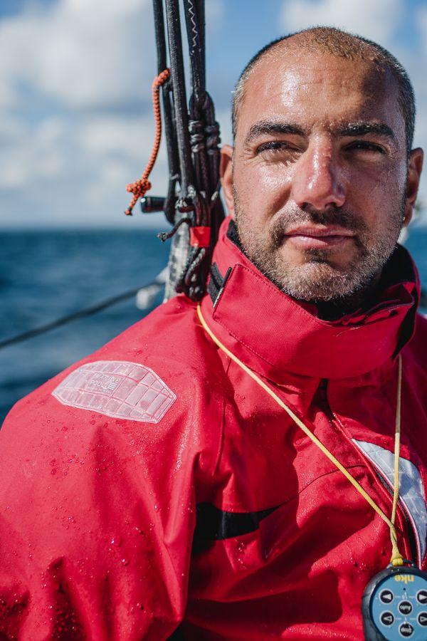 Damien Seguin, à bord de son Imoca Groupe APICIL.