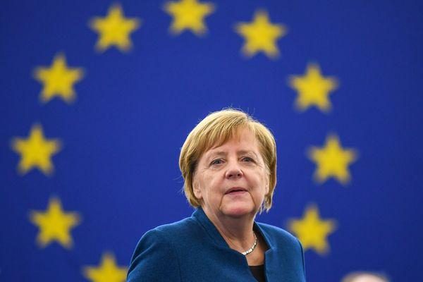 Angela Merkel au parlement européen en novembre 2018.