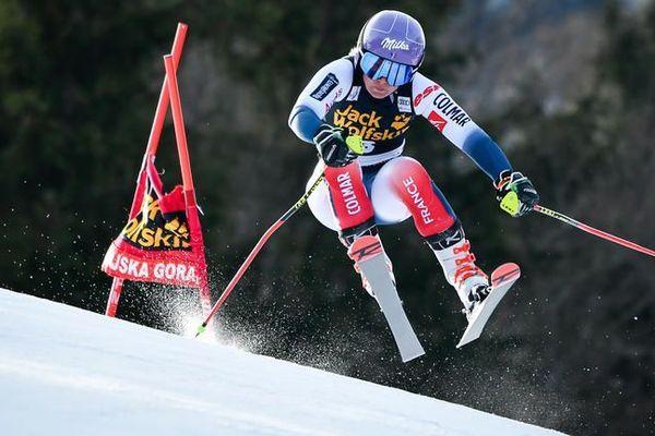 Tessa Worley le 15/02/2020 lors du slalom géant de Kranjska Gora,    15/02/2020