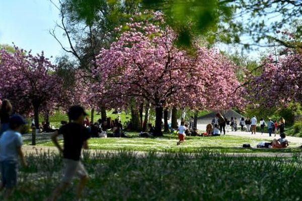 Des enfants jouent dans le parc floral (Paris XIIe).