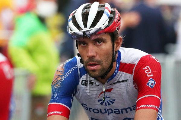 Thibaut Pinot après sa chute lors de la 1e étape du Tour de France 2020, à Nice.
