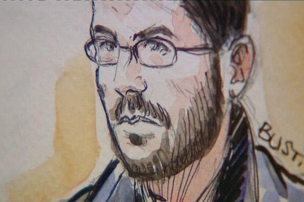 05/10/16 - Nicolas Battini, dessin d'audience lors du procès de l'attentat contre la sous-préfecture de Corte