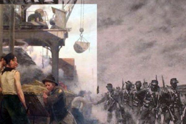 """Le """" Chevalet de mine en Lorraine """" de Maurice Réalier-Dumas : à gauche, la partie exposée avec les mineurs ;  à droite, la partie tronquée avec les soldats"""