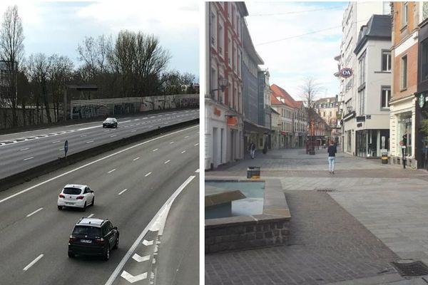 Du jamais vu : l'A35 à hauteur d'Illkirch Baggersee quasi vide et la rue du sauvage, la principale rue commerçante de Mulhouse désertée