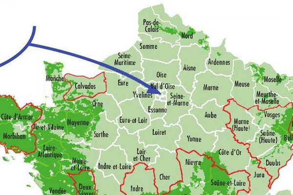 La carte de la présence du radon en France.