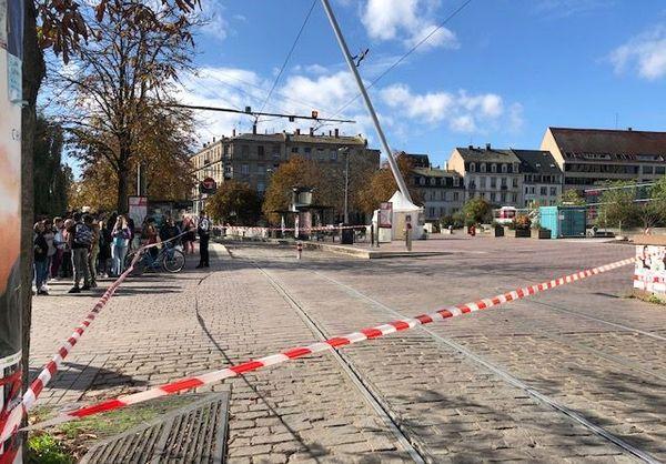 Les Halles à Strasbourg, le 16.10.19, le tram a été interrompu après un appel malveillant reçu par la police