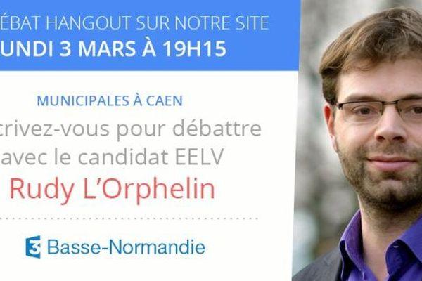 Rudy L'Orphelin, candidat Europe Ecologie les Verts aux élections municipales à Caen