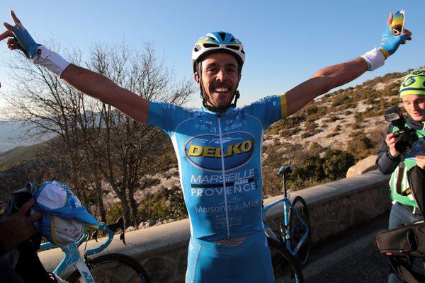 Rémy Di Grégorio, vainqueur de la 2e étape du Paris-Nice au col de l'Espigoulier en mars 2018.