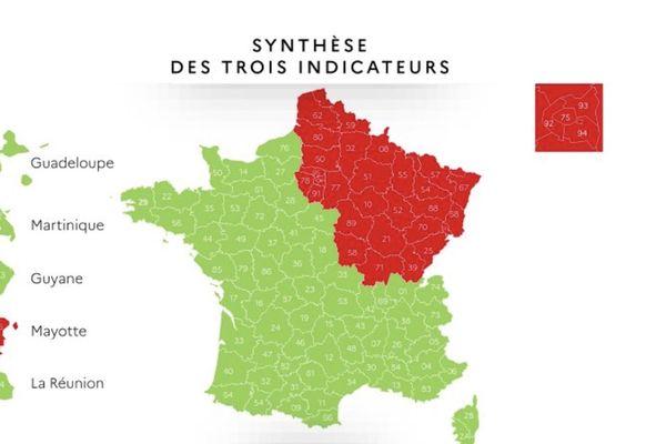 La carte de France des départements au jeudi 7 mai 2020.