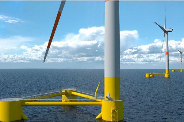 La concertation débute sur les projets d'éoliennes flottantes en Méditerranée - photo montage.