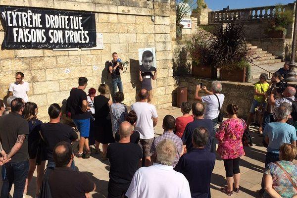 Le portrait de Clément Méric a été brandi par un des organisateurs du rassemblement.