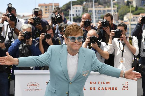 """Elton John """"Rocketman"""", star excentrique au succès planétaire à Cannes ce jeudi."""