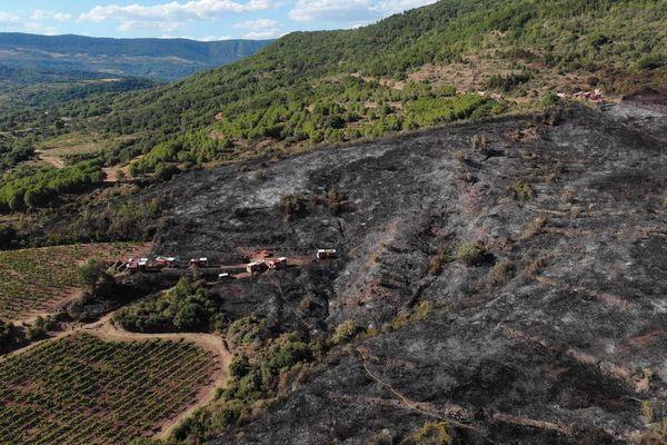 Hérault - 2 incendies se sont déclarés à 500 mètres d'intervalle à Saint-Jean-de-la-Blaquière, 15 hectares brûlés - 8 août 2019.