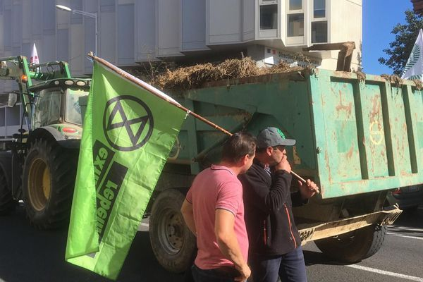 Les agriculteurs bloquent la circulation devant les locaux de la direction départementale des territoires et de la mer à Perpignan situés avenue Joffre - 8 octobre 2019